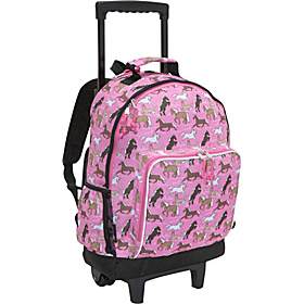 Horses in Pink High Roller Rolling Backpack  Horses in Pink