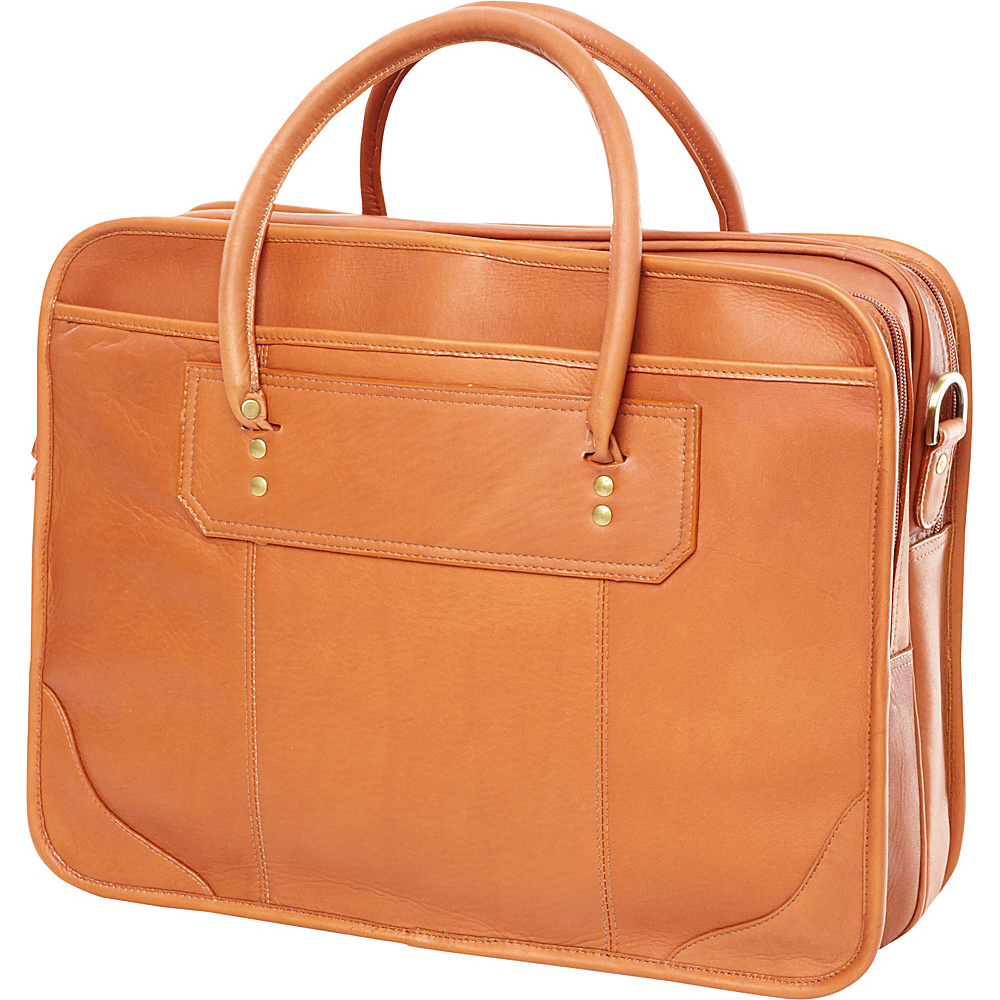 Clava Leather Top Handle Laptop Briefcase - Vachetta - Work Bags & Briefcases, Non-Wheeled Business Cases