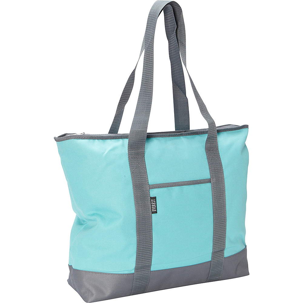 Everest Shopping Tote Aqua Blue Grey Everest Fabric Handbags