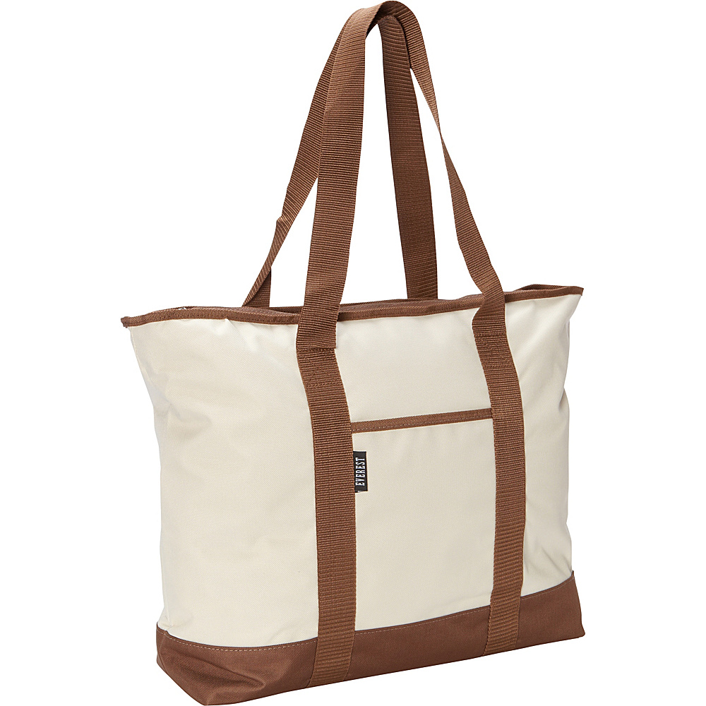 Everest Shopping Tote Beige Brown Everest Fabric Handbags