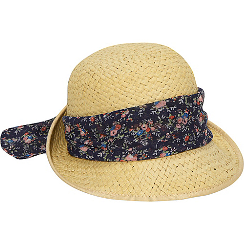 San Diego Hat Paper Braid Hat With Floral Band - royal