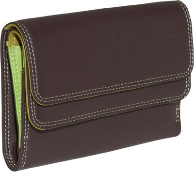 Image of BelArno Double Flap Bifold Multi Color Wallet in Black