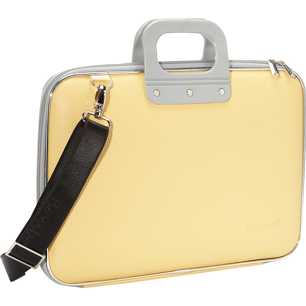 Bombata Classic Laptop Briefcase Pastel Yellow Bombata Non Wheeled Business Cases
