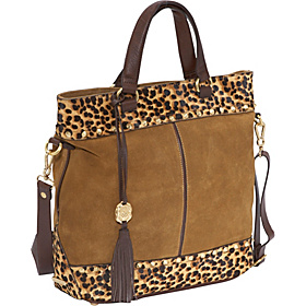 Jewell Leopard Trim Suede Tote Golden Suede