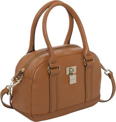 Calvin Klein Vienna Lock Dr Satchel Caramel Calvin Klein Leather Handbags