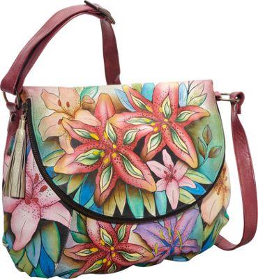 Anuschka Large Flap-Over Convertible Shoulder Bag Luscious Lilies - Anuschka Leather Handbags