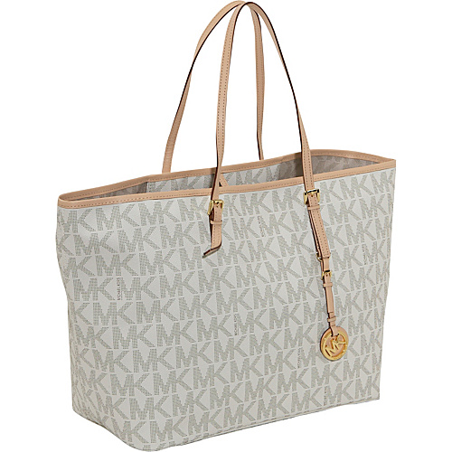 MICHAEL Michael Kors Jet Set Travel Logo Medium Tote Vanilla - MICHAEL Michael Kors Designer Handbags