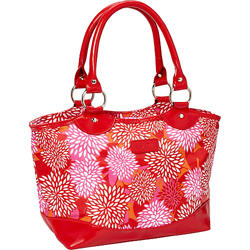 Sachi Insulated Lunch Bags Style 36 Printed Lunch Tote Red Mums - Sachi Insulated Lunch Bags Travel Coolers