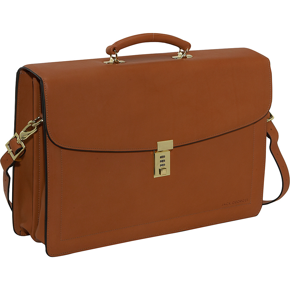 Jack Georges Belting Collection Double Gusset Flapover - Work Bags & Briefcases, Non-Wheeled Business Cases