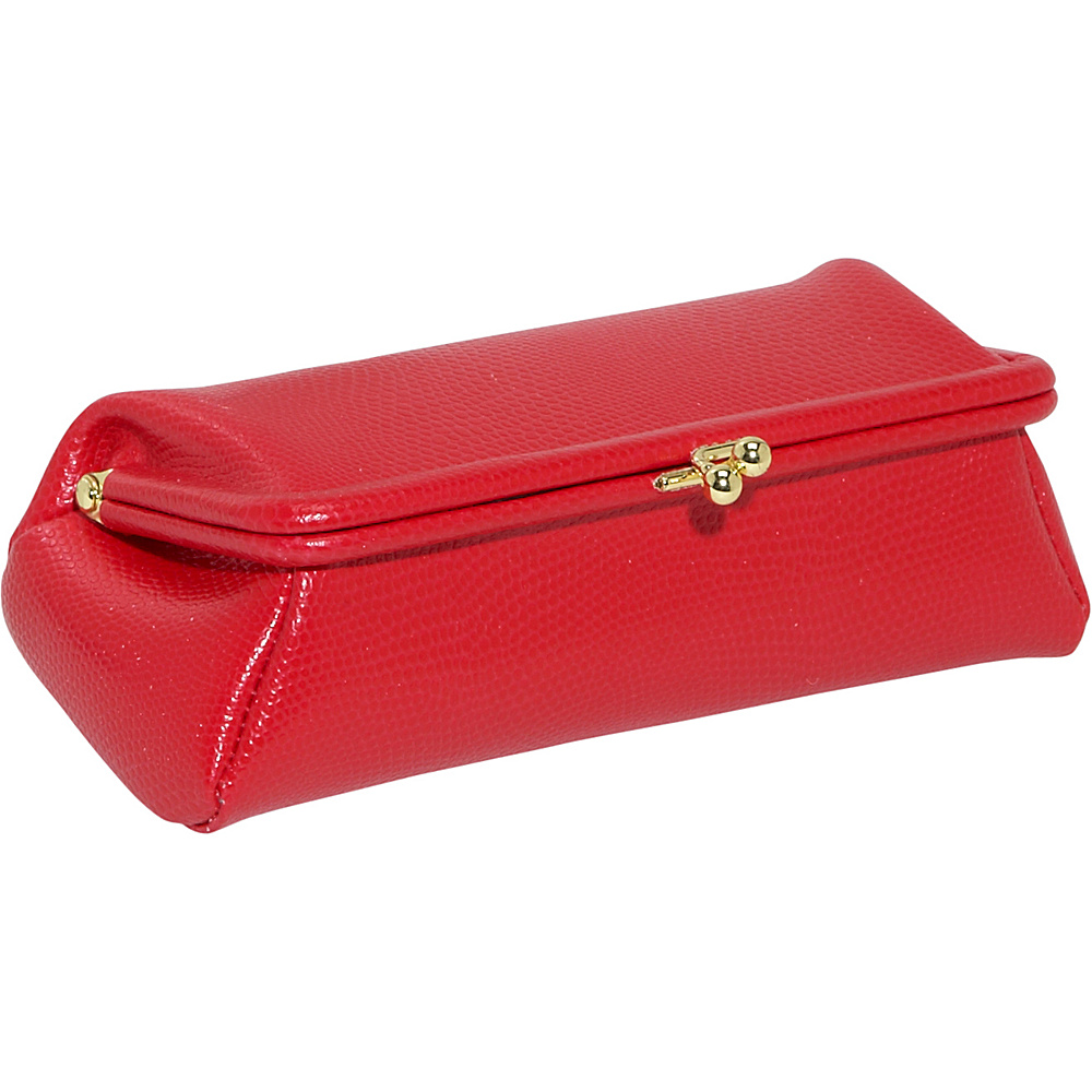 Budd Leather Framed Cosmetic Case Hot Red