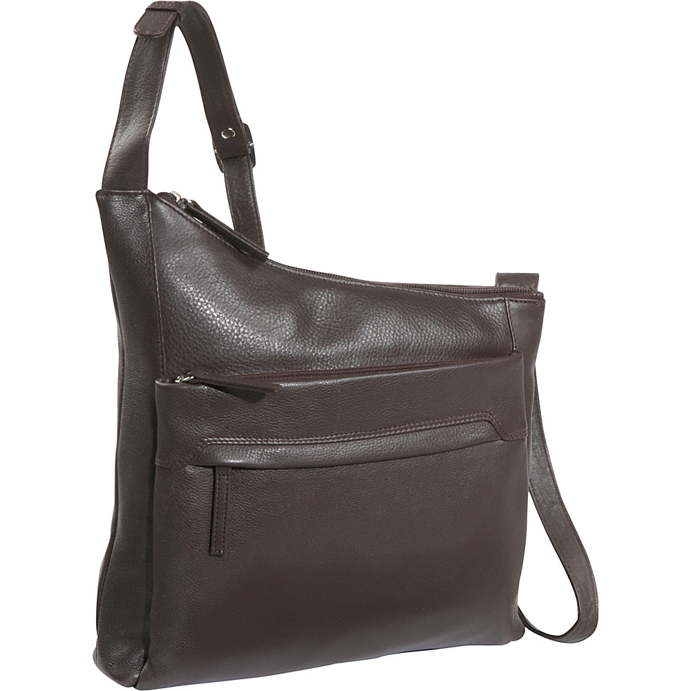 Derek Alexander NS Angled Top Zip - Brown - Handbags, Leather Handbags