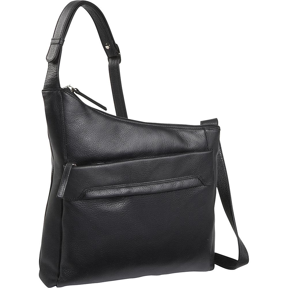 Derek Alexander NS Angled Top Zip - Black - Handbags, Leather Handbags