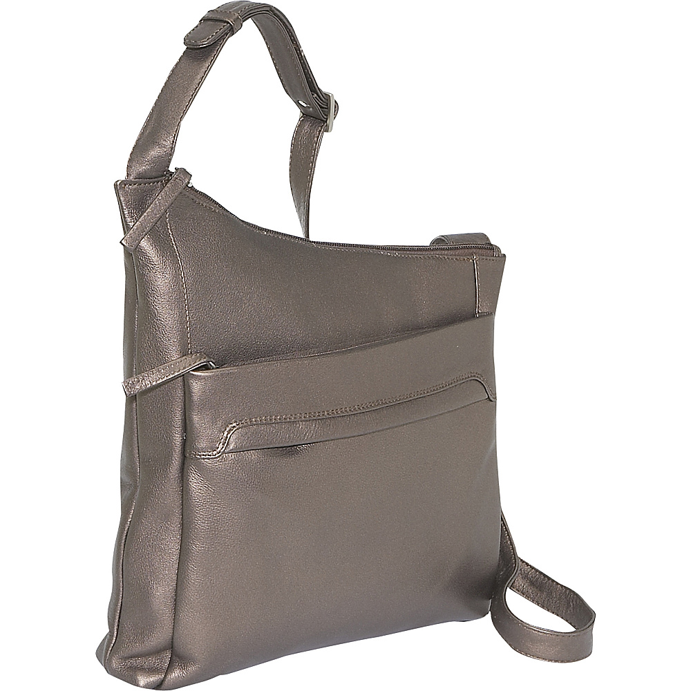 Derek Alexander N/S Angled Shoulder Bag - Bronze - Handbags, Leather Handbags