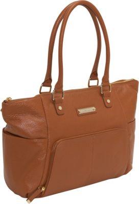 Calvin Klein Front Zip Pocket Tote Caramel Calvin Klein Leather Handbags