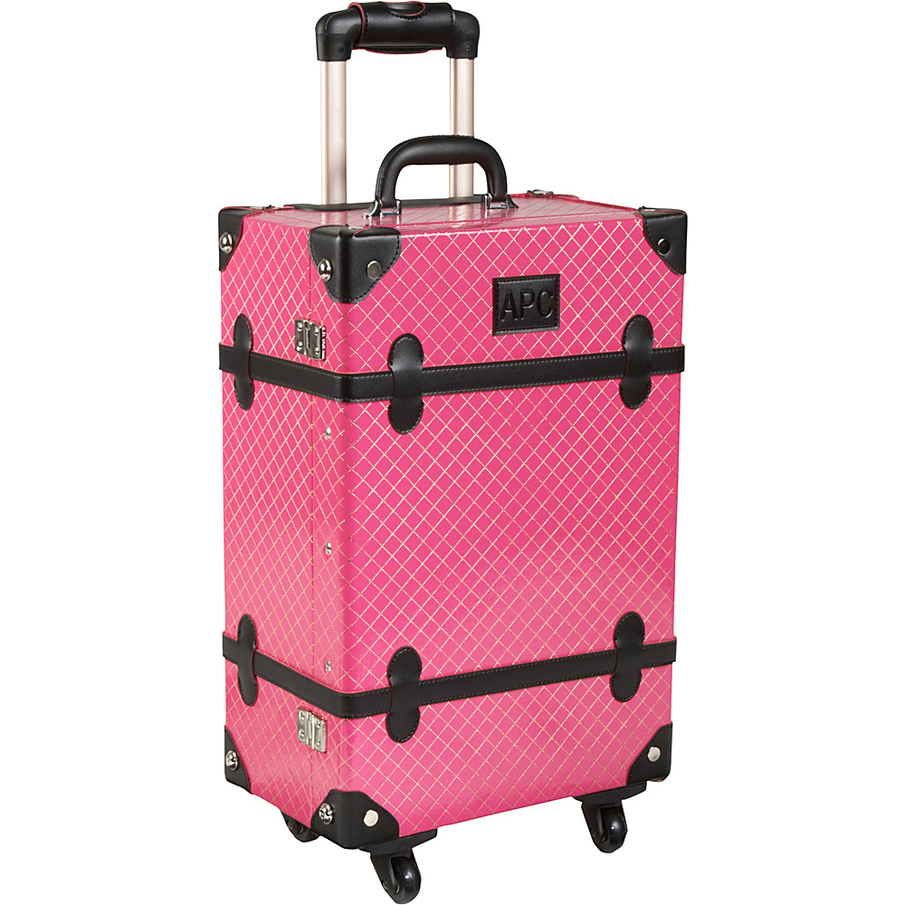 AmeriLeather Old Fashioned Chest Styled 24 Hardside Rolling Upright Pink - AmeriLeather Hardside Checked - Luggage, Hardside Checked