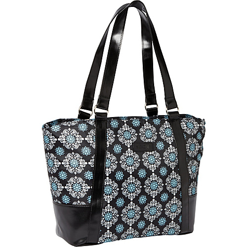 Sachi Insulated Lunch Bags Style 154 Lunch Bag Black Solid with Black-Blue Medallion - Sachi Insulated Lunch Bags Travel Coolers