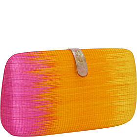 Straw Ikat Oversized Minaudiere Yellow/Orange/Pink