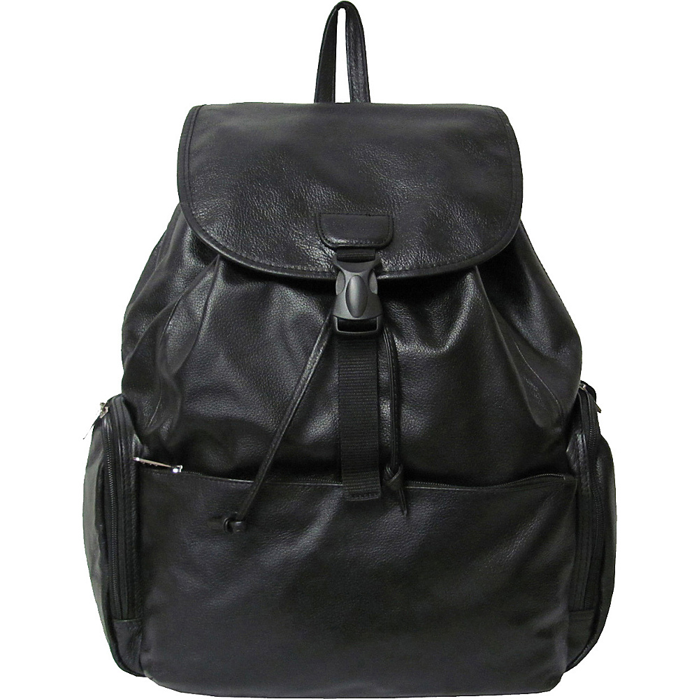 AmeriLeather Jumbo Leather Backpack - Black - Backpacks, Everyday Backpacks