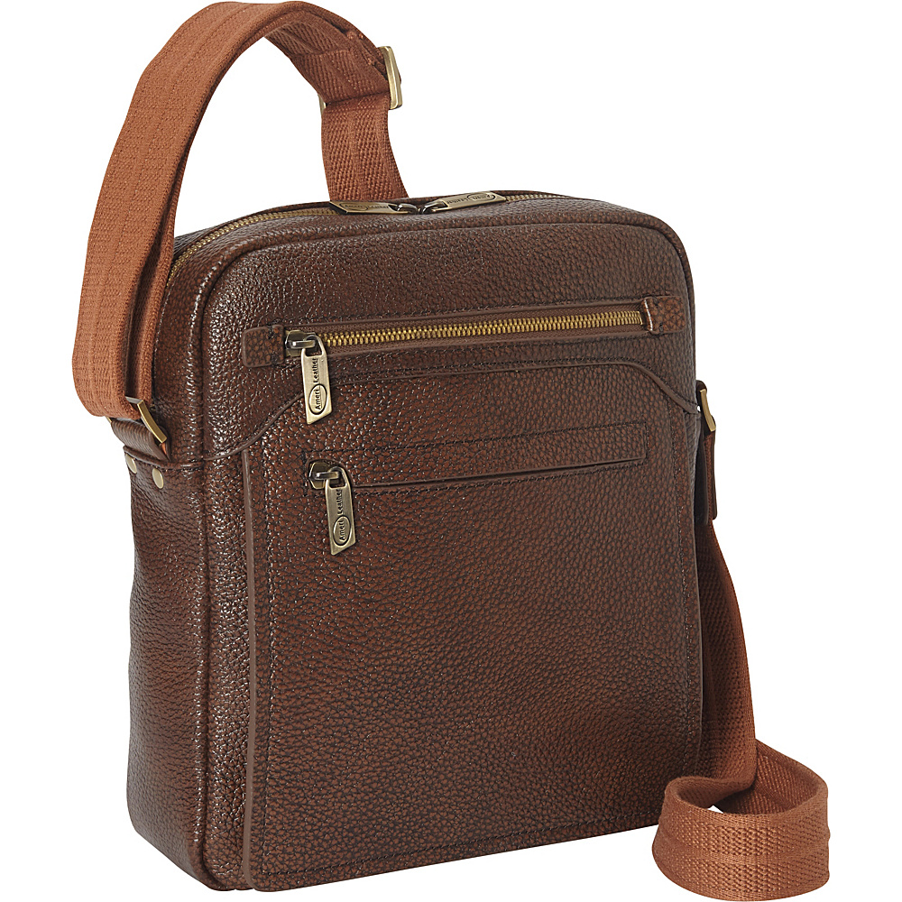 AmeriLeather Front Flap Messenger Bag - Brown - Work Bags & Briefcases, Other Men's Bags