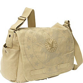 Vintage Classic Messenger Bag - Army Eagle Print Stonewashed Khaki