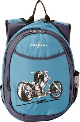 Obersee Kids Pre-School Motorcycle Backpack with Integrated Lunch Cooler Blue Motorcycle - Obersee Everyday Backpacks