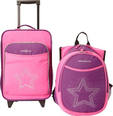 Obersee Kids Star Luggage and Backpack Set With Integrated Cooler Purple Pink Bling Rhinestone Star - Obersee Softside Carry-On
