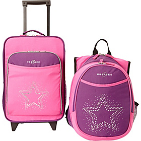 O3 Kids Star Luggage and Backpack Set With Integrated Cooler Purple Pink Bling Rhinestone Star