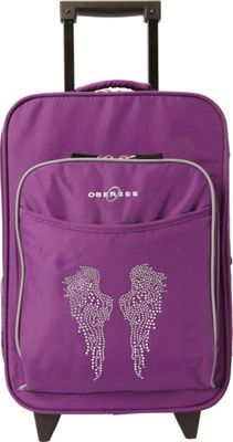 Obersee Kids Angel Wings 16 inch Upright Carry-On Purple Bling Rhinestone Angel Wings - Obersee Softside Carry-On
