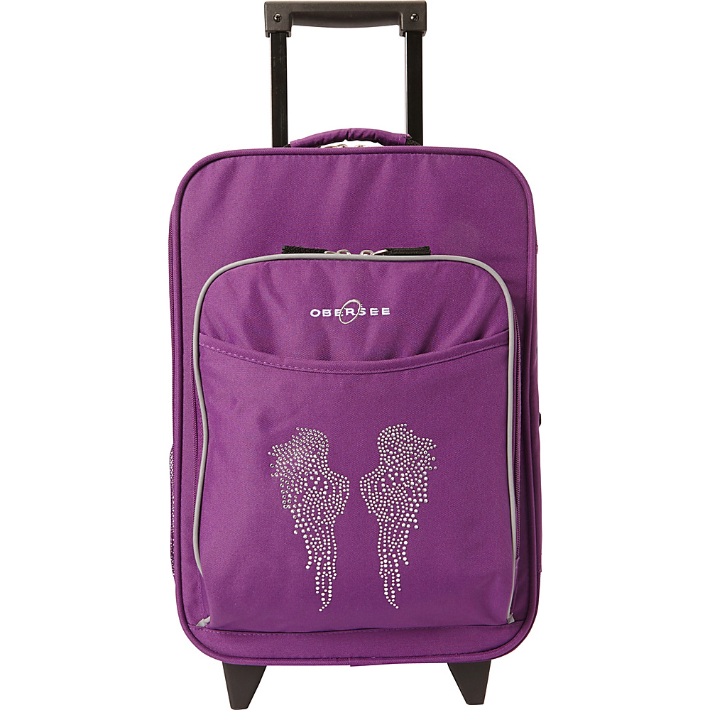 """Obersee Kids Angel Wings 16"""" Upright Carry-On Purple Bling Rhinestone Angel Wings - Obersee Softside Carry-On"""