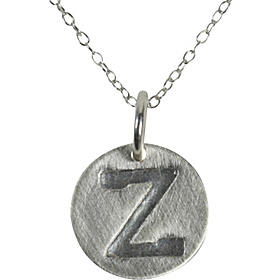 Embossed Disc Initial Necklace Sterling Silver - Z