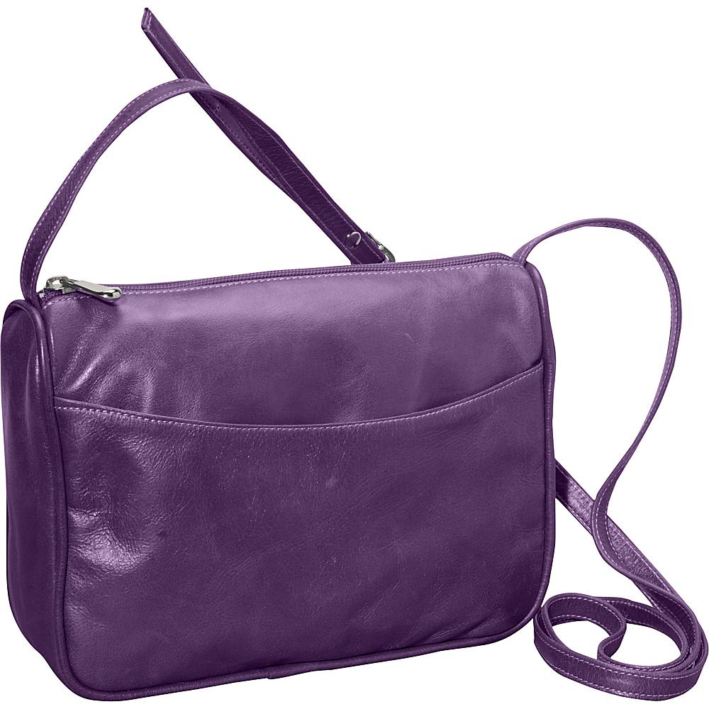 David King & Co. Florentine Top Zip Open Front Pocket Purple - David King & Co. Leather Handbags