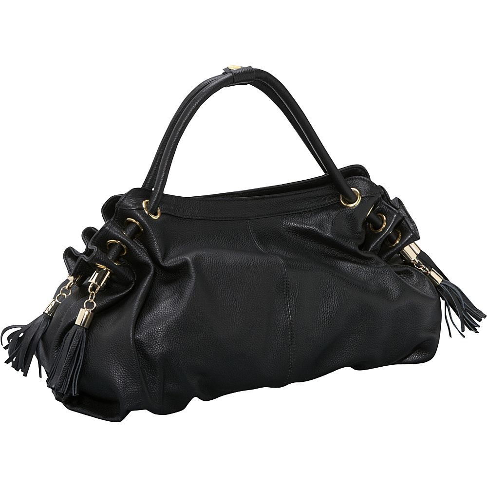 AmeriLeather Musette Leather Hobo - Black - Handbags, Leather Handbags