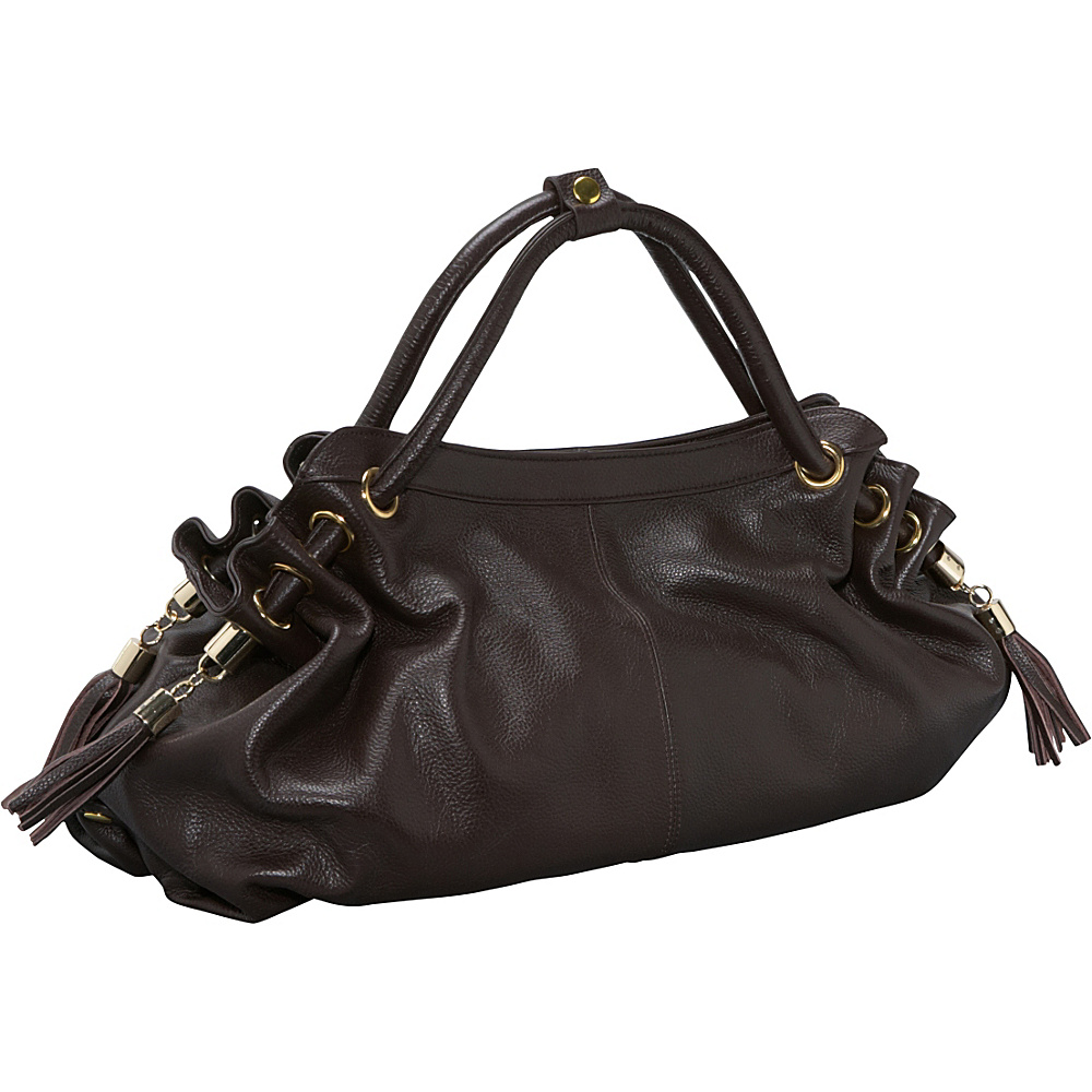 AmeriLeather Musette Leather Hobo - Dark Brown - Handbags, Leather Handbags