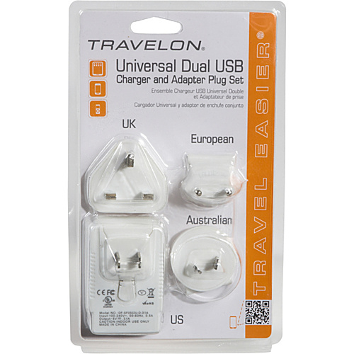 Travelon Universal Dual USB Charger and Adapter Plug Set White - Travelon Travel Electronics