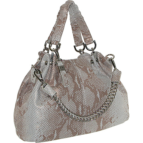 Buxton Leather Snake Skin Satchel With Chain Shoulder Strap Gold - Buxton Leather Handbags