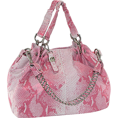 Buxton Leather Snake Skin Satchel With Chain Shoulder Strap Rose - Buxton Leather Handbags
