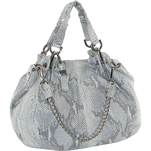 Buxton Leather Snake Skin Satchel With Chain Shoulder Strap Silver - Buxton Leather Handbags