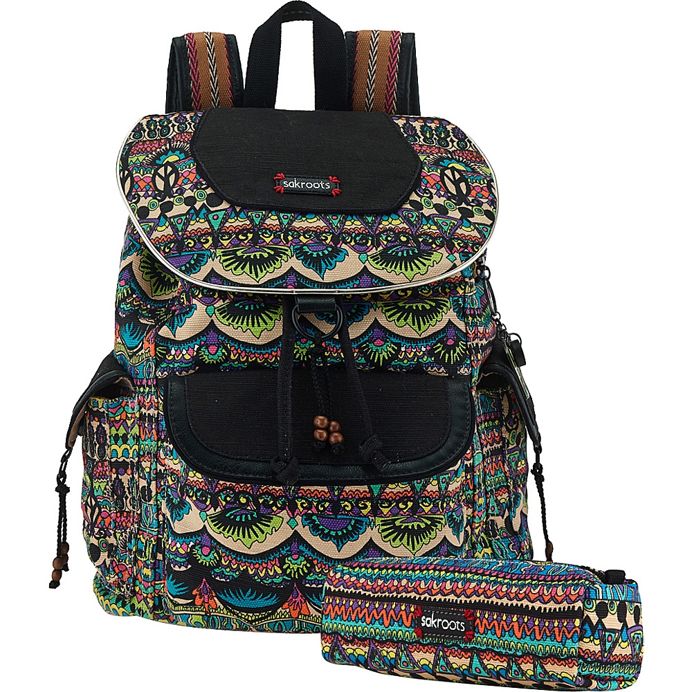 Sakroots Artist Circle Flap Backpack Radiant One World Sakroots Everyday Backpacks