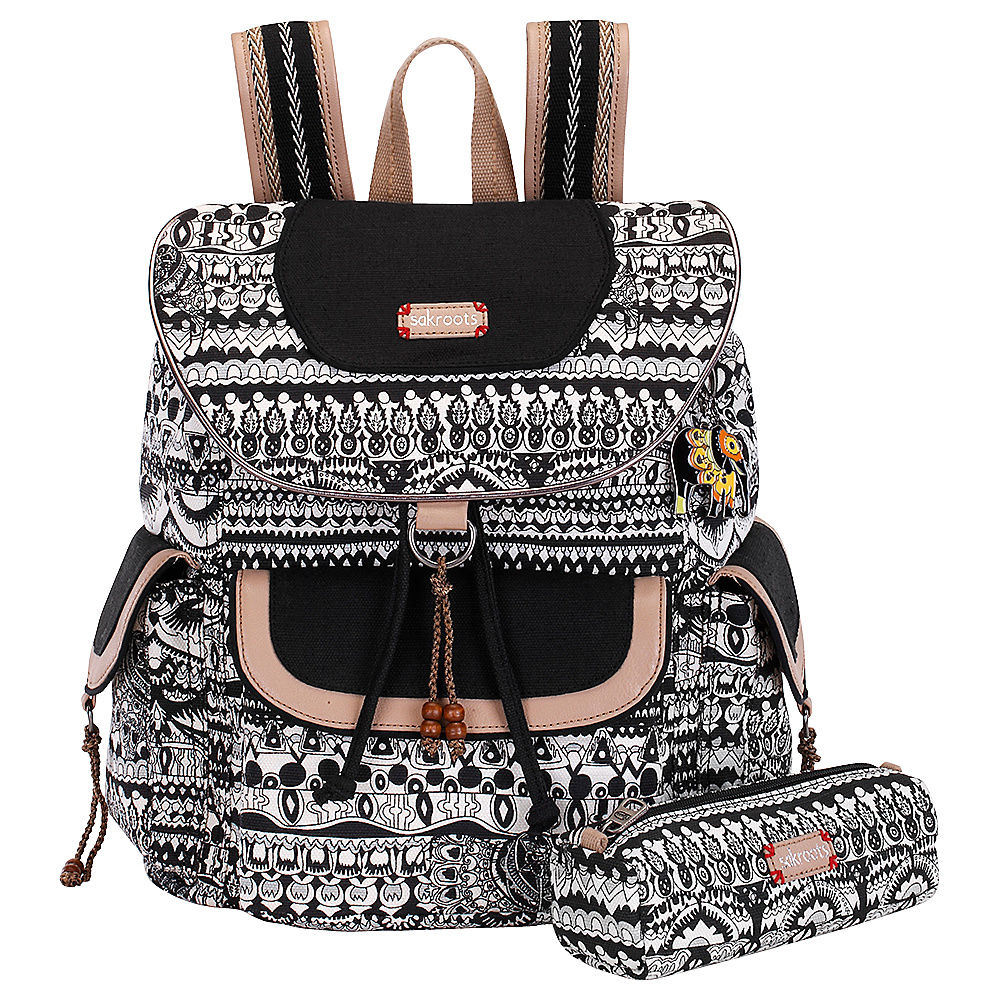 Sakroots Artist Circle Flap Backpack Black and White One World - Sakroots School & Day Hiking Backpacks