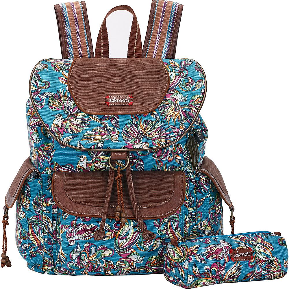 Sakroots Artist Circle Flap Backpack Teal Treehouse - Sakroots School & Day Hiking Backpacks