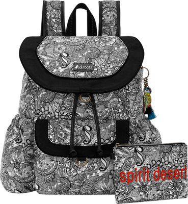 Sakroots Artist Circle Flap Backpack Black and White Spirit Desert - Sakroots Everyday Backpacks