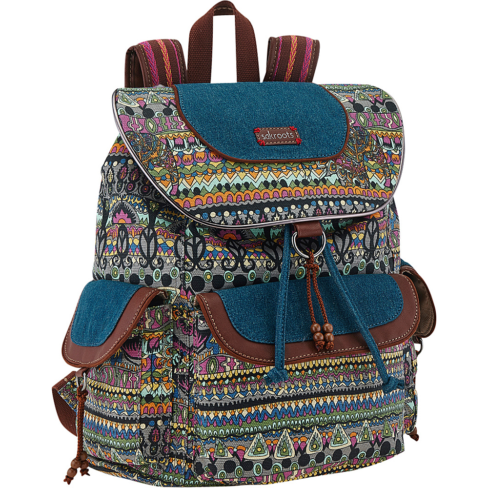 Sakroots Artist Circle Flap Backpack Charcoal One World - Sakroots School & Day Hiking Backpacks