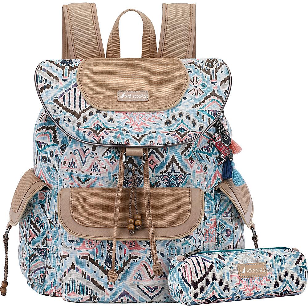 Sakroots Artist Circle Flap Backpack Turq Brave Beauti - Sakroots Everyday Backpacks - Backpacks, Everyday Backpacks