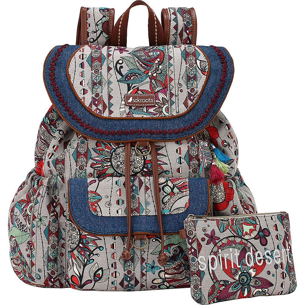 Sakroots Artist Circle Flap Backpack Charcoal Spirit Desert - Sakroots Everyday Backpacks - Backpacks, Everyday Backpacks