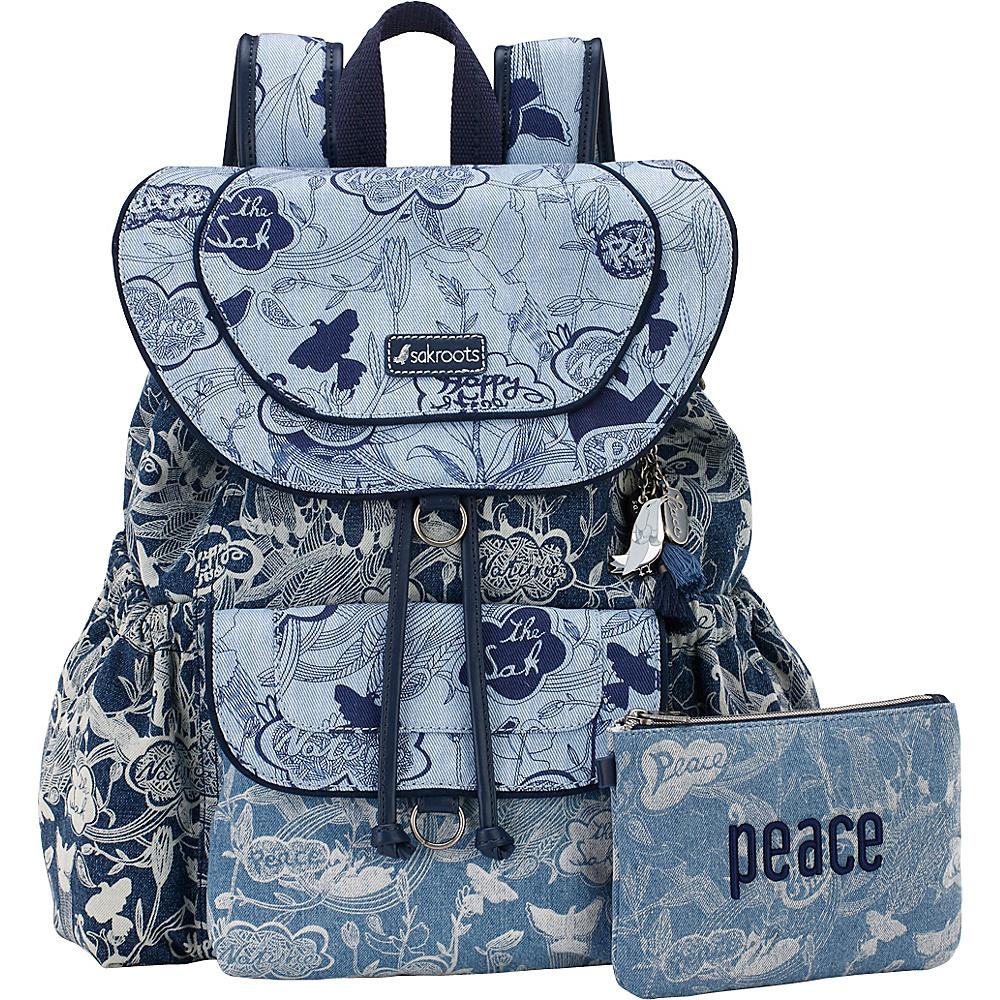 Sakroots Artist Circle Flap Backpack Denim Peace - Sakroots Everyday Backpacks - Backpacks, Everyday Backpacks