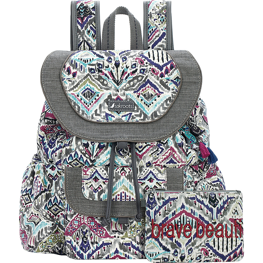 Sakroots Artist Circle Flap Backpack Slate Brave Beauti - Sakroots Everyday Backpacks - Backpacks, Everyday Backpacks