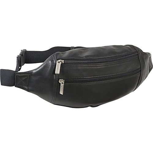Le Donne Leather Dual Zip Pocket Waist Bag Black - Le Donne Leather Waist Packs & Fanny Packs