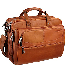 Columbian Leather 2 Pocket 15.6'' Laptop Business Case Tan
