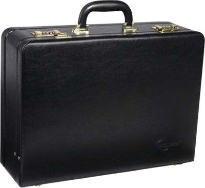 AmeriLeather Large Expandable Faux Leather Attach Case Black - AmeriLeather Non-Wheeled Business Cases