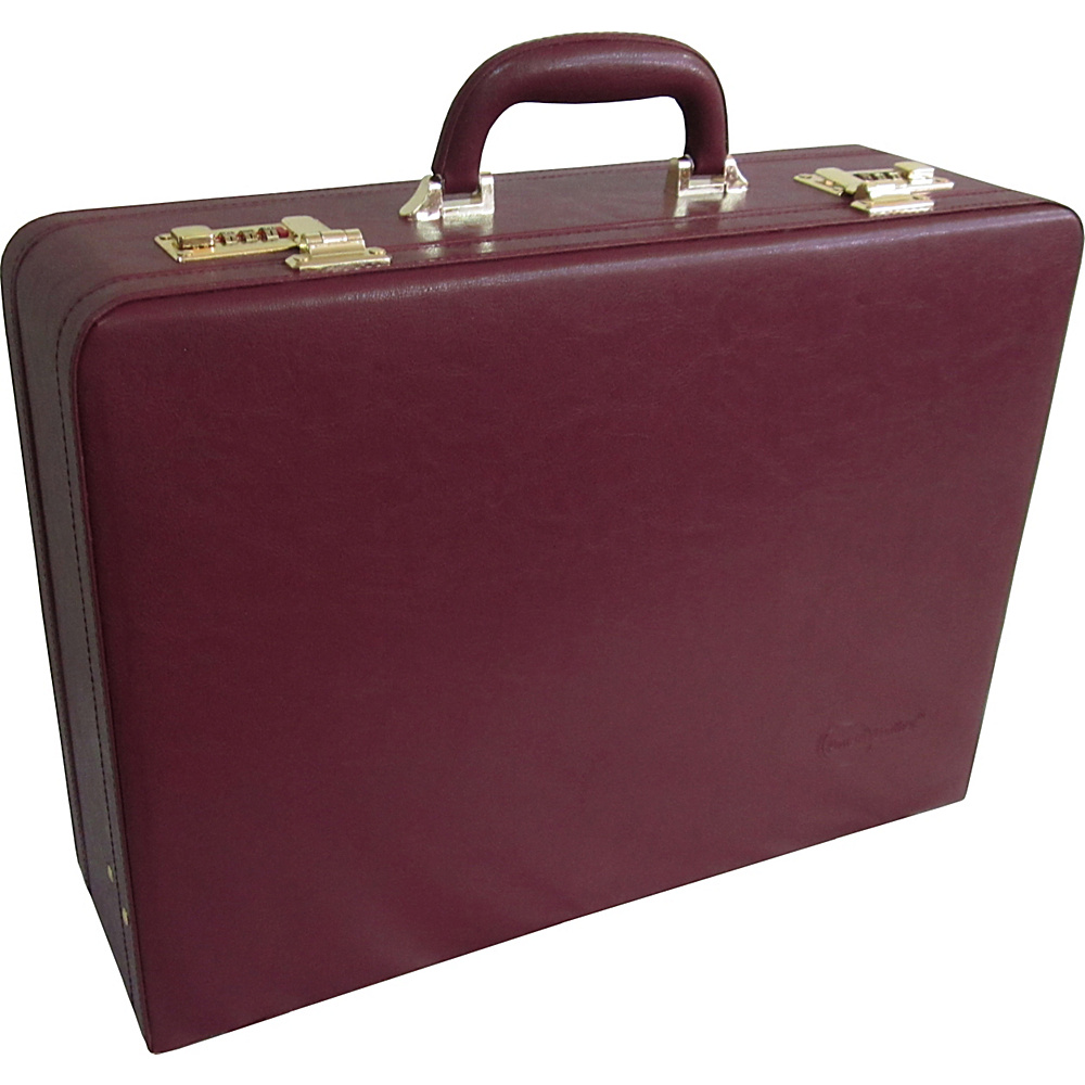 AmeriLeather Large Expandable Faux Leather Attach Case Wine - AmeriLeather Non-Wheeled Business Cases - Work Bags & Briefcases, Non-Wheeled Business Cases